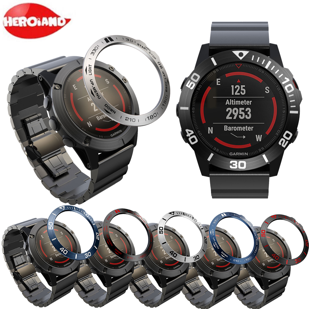 Metal Cover Frame For Garmin Fenix 5/5X/3 Smart Watch Dial Bezel Ring Styling Case Adhesive Cover Anti Scratch Protection Ring