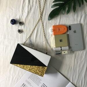 Image 2 - Bolso de mano con lentejuelas doradas y acrílicas para mujer, cartera tipo mensajero, con entramado geométrico, para noche, fiesta, negro y blanco