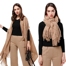 Luxury Brand Winter Wool Knit Scarf for Women Solid Cashmere Poncho Capes Tassel Hollow Pashmina Shawls Wraps Coat