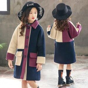 Image 3 - Модное Трендовое пальто для девочек, молодежное энергичное Детское пальто, живое милое пальто для девочек, хлопковое пальто с отложным воротником, полная одежда для девочек из полиэстера