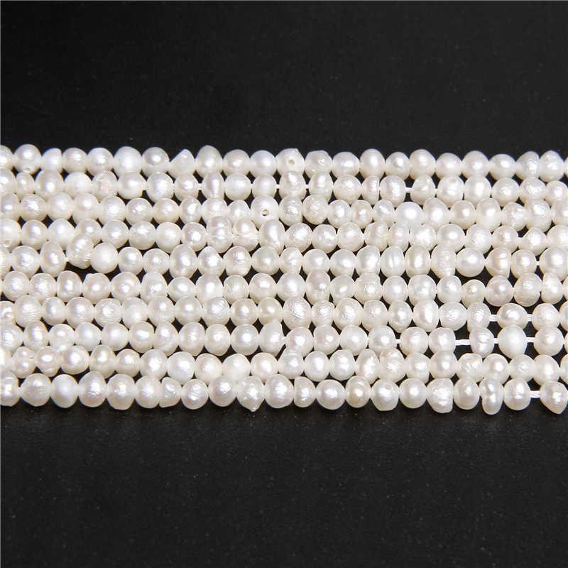 Groothandel Kleine Natuurlijke Zoetwater Aardappel Ronde Vorm Parel Kralen Voor Sieraden Maken DIY Armband Ketting 2-3mm Strand 14inch