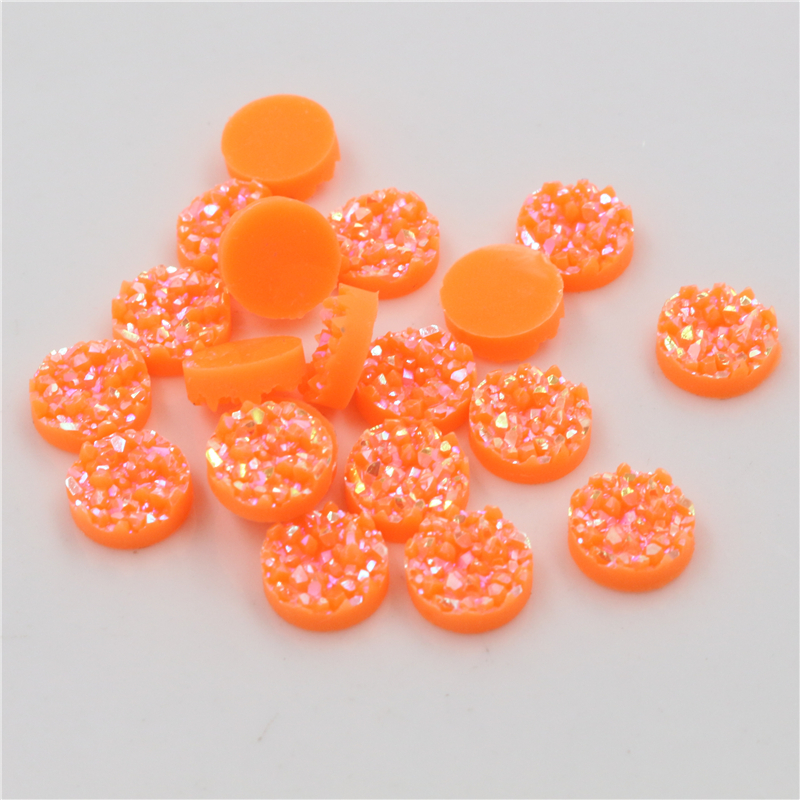 New Fashion 8mm 10mm 40pcs Dark Orange AB Colors Natural Ore Style Flat Back Resin Cabochons For Bracelet Earrings Accessories
