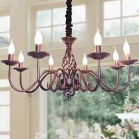 Rustic Candle French Country Chandelier 8 Lights Metal in Antique Black Pendant Fixture For Living Room Lights