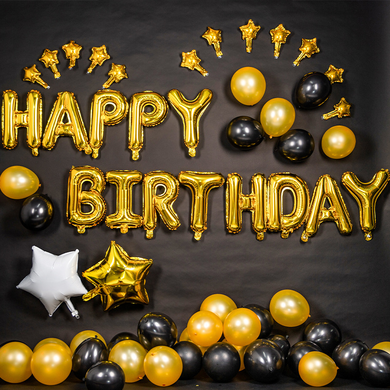 AIWILL Party joyeux anniversaire aluminium Latex ballon ensemble fête atmosphère ballon habiller anniversaire décoration Banquet