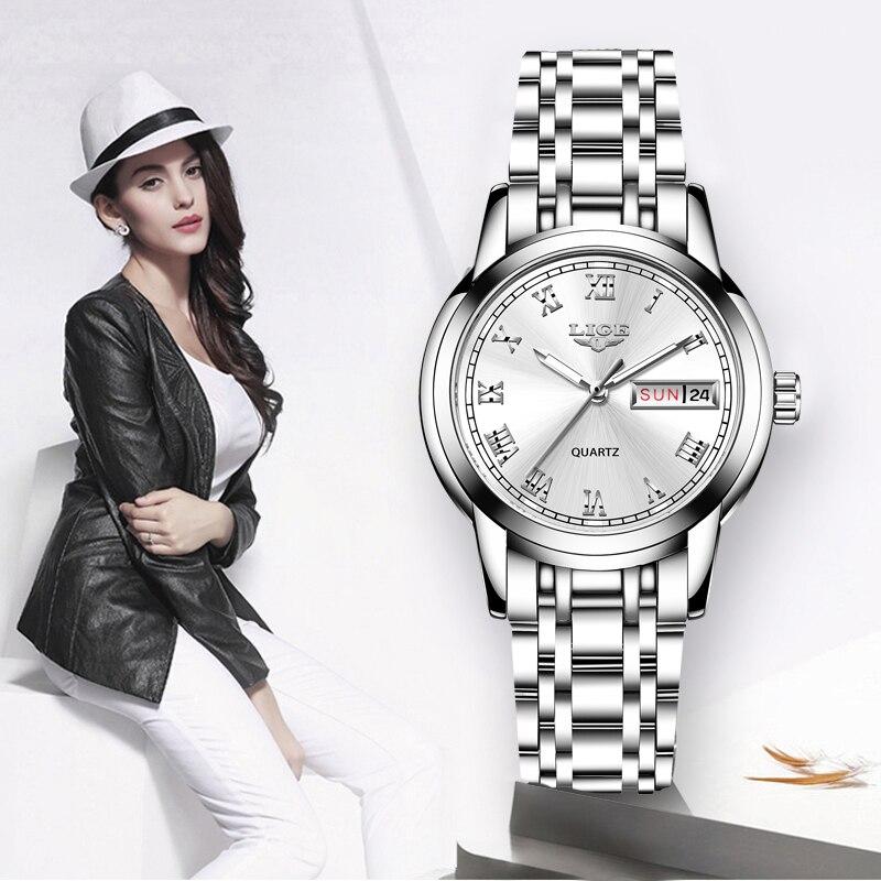 LIGE Lady Fashion Watch Women Quartz Watch Women's Watches Date Week Stainless Steel Female Dress Clock Xfcs Relogio Feminino