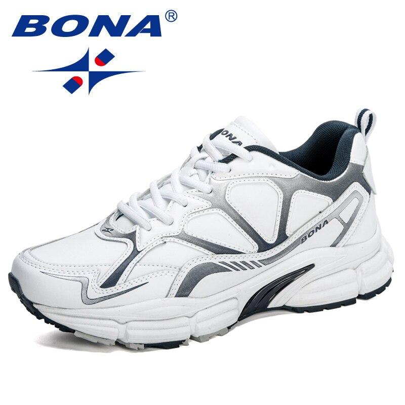 BONA 2020 New Designers Action Leather Running Shoes Men Outdoor Jogging Sport Shoes Men Krasovki Walking Footwear Sneakers Man