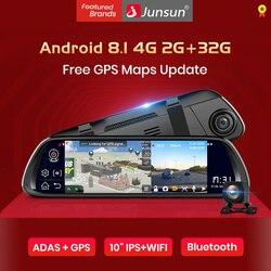 Junsun A960 Android 8,1 ADAS 2G + 32G 10 СТРИМ медиа dash cam камера Автомобильная камера рекордер dvr dashcam gps навигация 1080P wifi