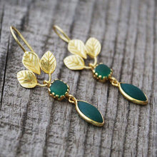 Charming folhas de ouro brincos de pedra verde chique jóias quadrado cavalo olho em forma de metal statement planta balançar brinco