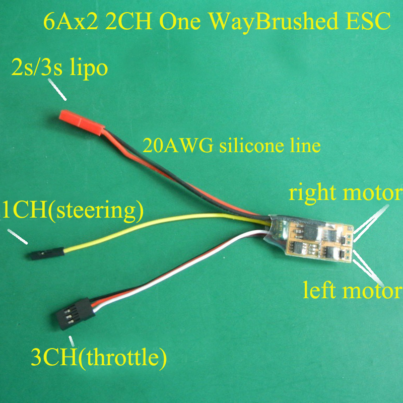 RC Boat <font><b>2S</b></font>/3S 2CH One Way Brushed ESC 6Ax2 8520 N20 N30 <font><b>Motor</b></font> Mixed Control Double Propeller Electronic Speed Controller 6-16V image