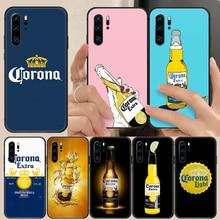 Modelo cerveja corona caso do telefone capa casco para huawei p8 p9 p10 p20 p30 p40 lite pro plus inteligente z 2019 preto moda à prova dwaterproof água