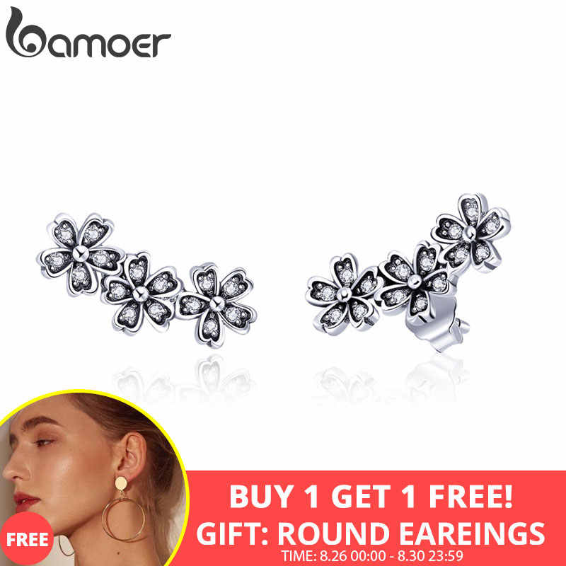 BAMOER 925 Sterling Silver Daisy Flower Clear CZ Stud Earrings for Women Sterling Silver Jewelry Valentine's Day Gift SCE419