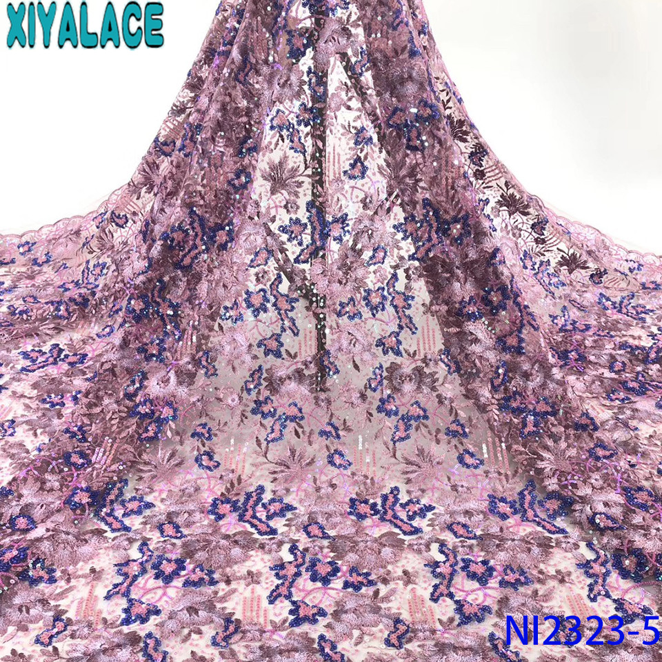 African Tulle Lace 2019 Sequin Fabric Lace Hot Sale French Laces Fabrics High Quality Tulle French Embroidery KSNI2323-5