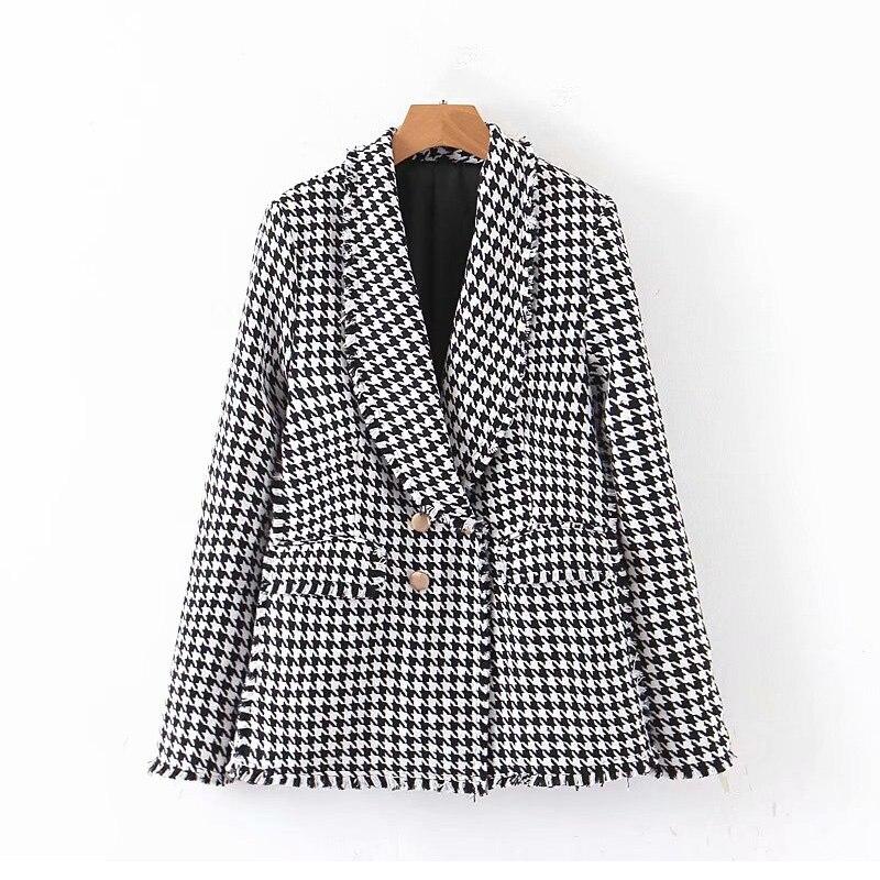 Vintage Women Black White Plaid Suit Jackets 2019 Fashion Ladies Double Breasted Elegant Coats Female Feminine Outwear Chic Girl