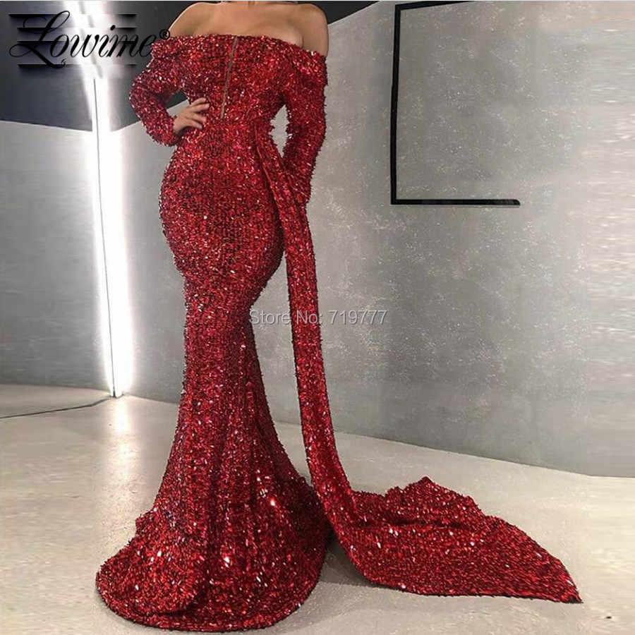 Mermaid Abiti Del Partito 2020 Dubai Borgogna Paillettes Off Spalla Abiti Da Sera Sexy Vestito Lungo Da Promenade Per Matrimoni Robe De Soiree