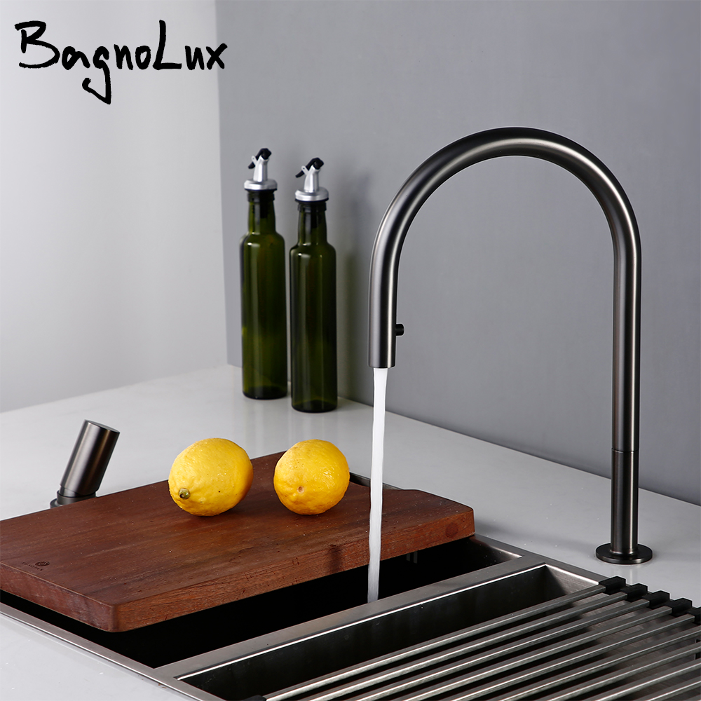 Brushed Gunmetal Black Single Handle Double Hole Hot And Cold Sprayer Pull-Down Brass Countertop Mounted Kitchen Sink Faucet