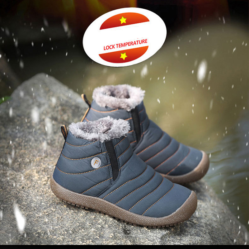 Women Snow Boots Waterproof Winter Warm Fur Ankle Boots Couple Thick Soled Warm Shoes Woman Flats Botas
