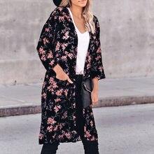 2020 Zomer Vrouwen Chiffon Bloemen Kimono Strand Vest Sheer Cover Up Badmode Lange Blouse Shirts Vrouwelijke Tops