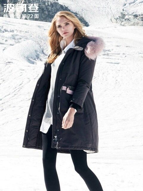 BOSIDENG חדש גדול אמיתי פרווה צווארון ברדס למטה מעיל ארוך עבה למטה מעיל נשי באיכות גבוהה אופנה parka B80141134