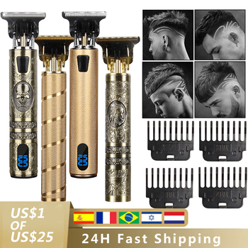 2021 USB Hair Trimmer Electric Hair Clipper Cordless Shaver Beard trimmer for men Barber Cutting Machine T-Outliner Shaver HIENA 1