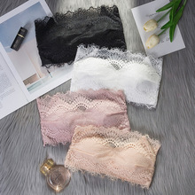 Strapless Bra Women Tube Tops Lace Wrapped Chest Sexy Female Bandeau Top Cropoed Soft Underwear zogaa sexy reflective wrapped chest women bodysuit midriff baring hollow strapless shoulder streetwear top female ladies tops