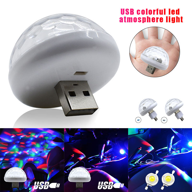 Car Mini LED Colorful Lamp Sound Control Plug And Play USB Light For Party KTV TN88