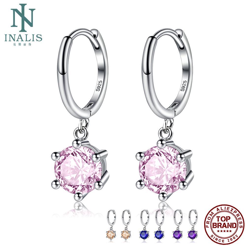 INALIS S925 Sterling Silver Drop Earrings Round Sparking Zircon Fine Jewelry Charming Earring For Women New Arrival Wholesale