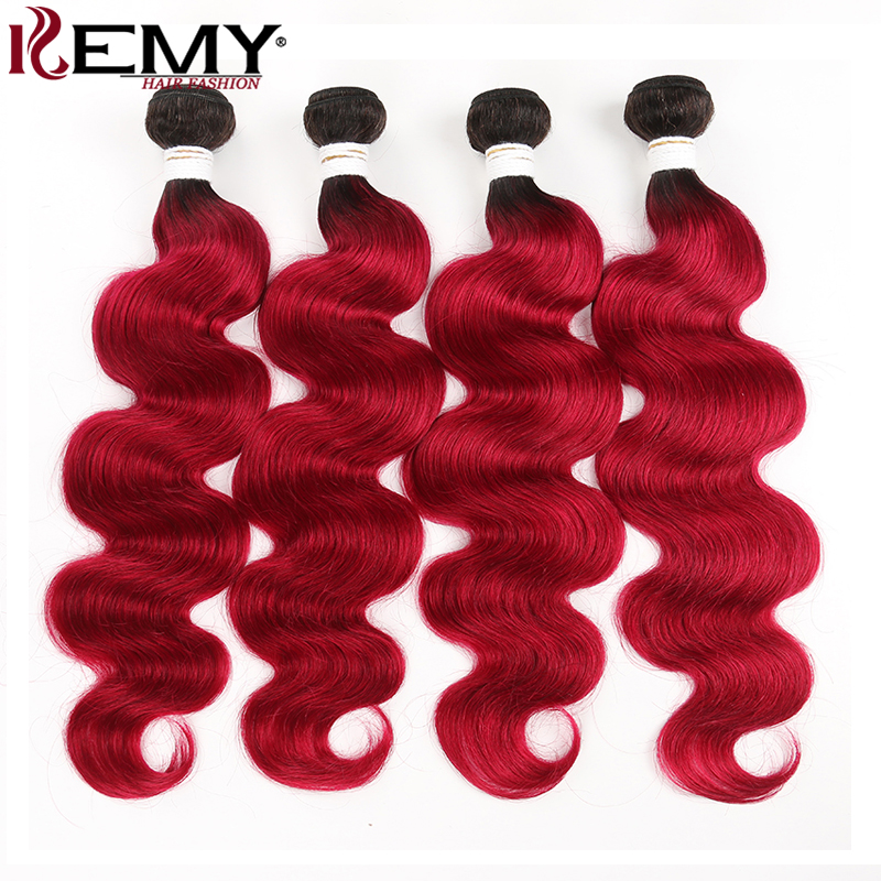 1B 99J/Burgundy Human Hair Bundles Ombre Red Brazilian Body Wave Human Hair Weave Bundles KEMY Hair Non-Remy Hair Extension