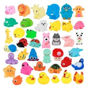 Image 2 - 10 ピース/セットかわいいベビーバスおもちゃ洗浄再生動物ソフトゴムフロート sqeeze サウンドのおもちゃ gyh