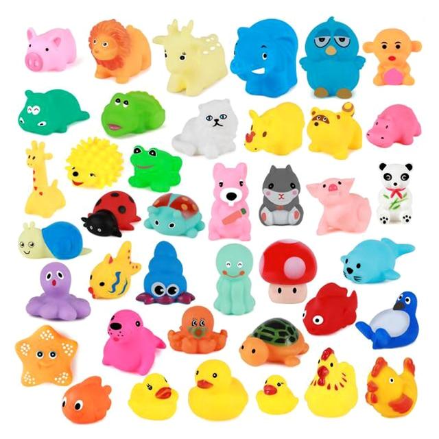 10 قطعة/المجموعة لطيف طفل حمام اللعب غسل اللعب الحيوانات لينة المطاط تعويم ضغطا ألعاب صوتية للطفل GYH