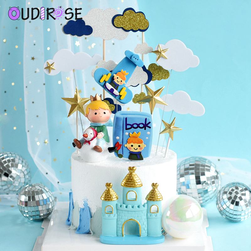 Happy Birthday Cake Topper Prince Airplane Wire Star Cloud Blue Boy Birthday Book Cake Decoration Tassel Hanging Flag Supplies image