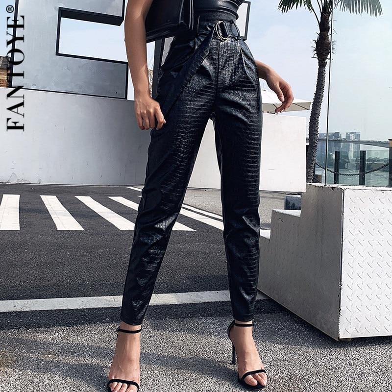 FANTOYE  Belt PU Leather High Waist Pants Women Sexy Crocodile Pattern Slim Pencil Pant Female Casual Black Trousers Streetwear
