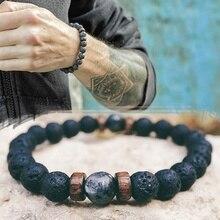 Men Bracelet Natural Moonstone Bead Tibetan Buddha Bracelet chakra Lava Stone Di