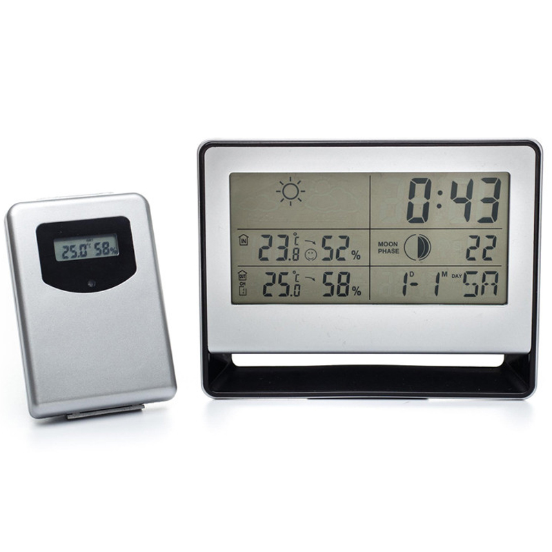 Wireless Weather Station Table Desktop Snooze Alarm Clock Display Calendar Temperature Thermometer Humidity Hygrometer