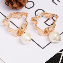 Punk Gold Color Metal Geometric Big Drop Dangle Earrings for Women Exaggerated Simple Long Pearl Earrings Statement Jewelry amorcome chic hollow alloy leaves dangle earrings for women gold metal leaves geometric long big drop earrings fashion jewelry