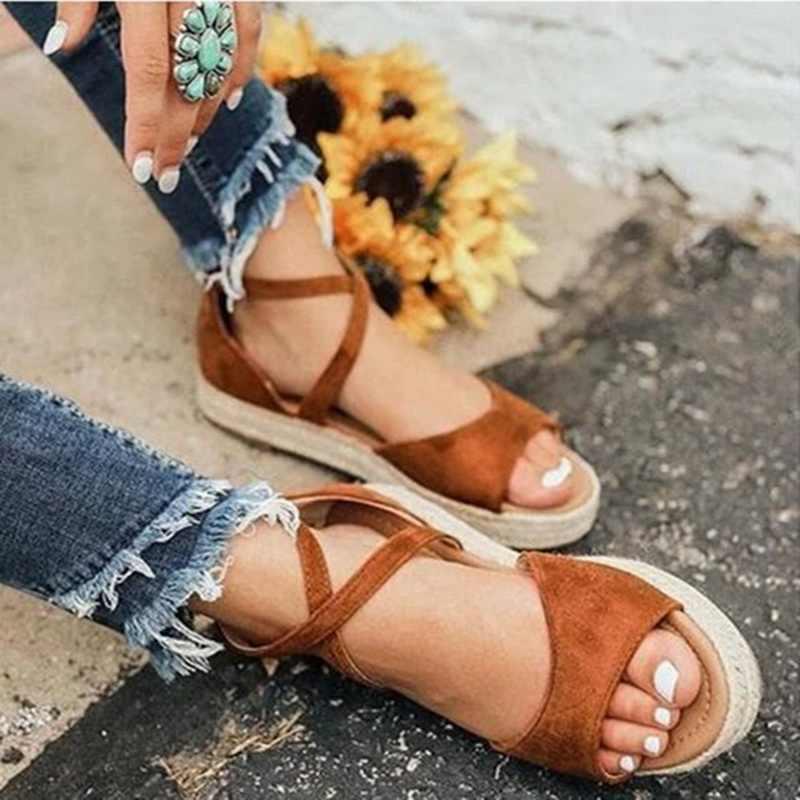 2020 Phụ Nữ Dép Phẳng Thời Trang Peep Toe Thiết Kế La Mã Giày Sandal Nữ Flat Bãi Biển Mùa Hè Nữ Giày Dép