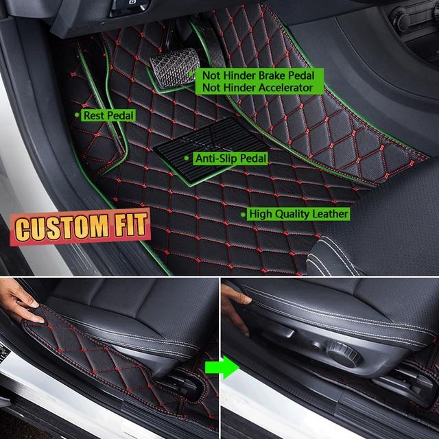 Tapis de sol en cuir de voiture sur mesure pour SEAT Leon MK3 5F 5 sièges 2013 ~ 2019 accessoires de tapis de protection de pied automatique 2014 2015 2016 2017 2018 5