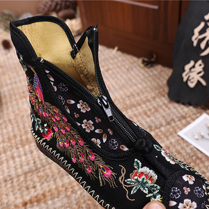 Image 5 - Veowalk Peacock Embroidered Women Canvas Flat Short Boots, Vintage Chinese Embroidery Cotton Booties Ladies Shoes Front Zippers