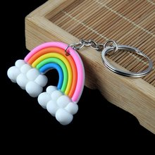 New Silicone Rainbow Clouds Keychain Keyring Woman Girls High Grade Handbag Car Keychain Keyholder Accessories Jewelry(China)