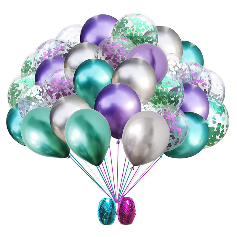 30pcs 12inch Metallic Colors Latex Confetti Balloons Green Purple Sliver Ballons Wedding Baby Shower Birthday Party Decorations