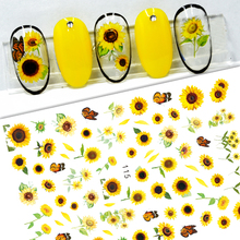 New Sunflower 3D Stickers for Nails Peel Off Nail Sticker Butterfly Decals Summer Nail Art Decorations Manicure Accessories