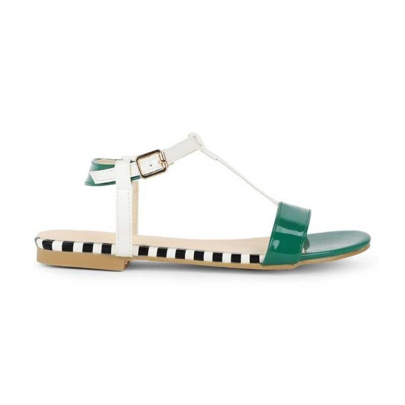 2019 pist sandalet kadın artı boyutu 42 toka parti düz sandalet Flip flop yaz burnu açık ayakkabı sarı Sandalia Feminina