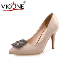 VICONE Women Summer Pointed Toe Office Party Casual Fashion Heels V583718