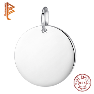 BELAWANG Authentic 925 Sterling Silver Round Shape Pendant Fit Women Chain Link Necklace Bracelet Custom Jewelry Free Engrave