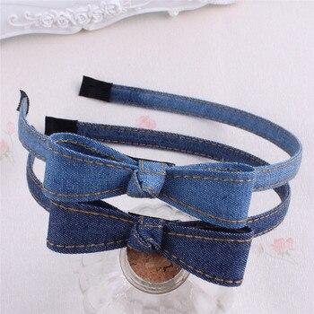 Blue Jean Twisted Hairband Handmade Bohemian Vintage Wrapped Denim Fabric Big Bow Headband Jeans Kids  Hair Accessories