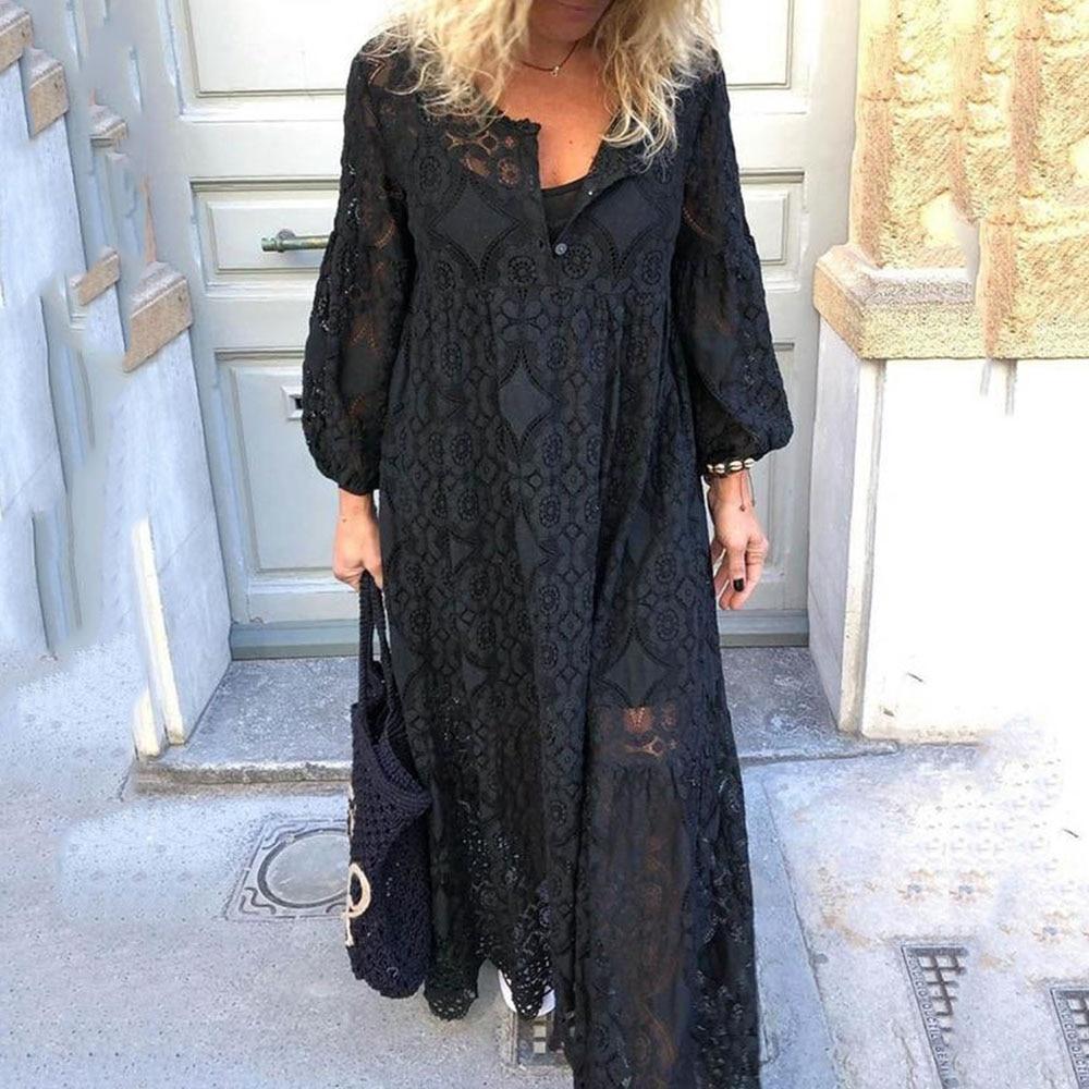 Black Hollow Lace Party Dresses Women Loose Prom Dresses Elegant Long Dresses 5XL Long Sleeve Maxi Blue Vestido