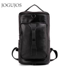 JOGOJOS Genuine Leather Men Backpack Fashion Male Travel Bag Outdoor Mountaineering Man Backpack Cowhide Black Mochila Daypack new design male real cowhide leather casual travel bag school backpack daypack for men 2107