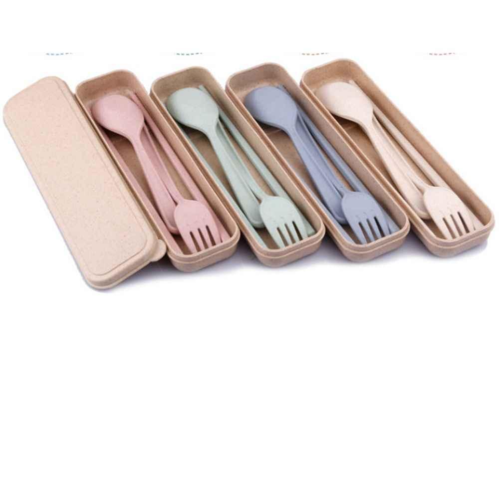 حار بيع المحمولة القمح القش المائدة مجموعة أدوات المائدة ثلاثة قطعة للأطفال الكبار أدوات مائدة للسفر عدة هدية أواني الطعام مجموعة