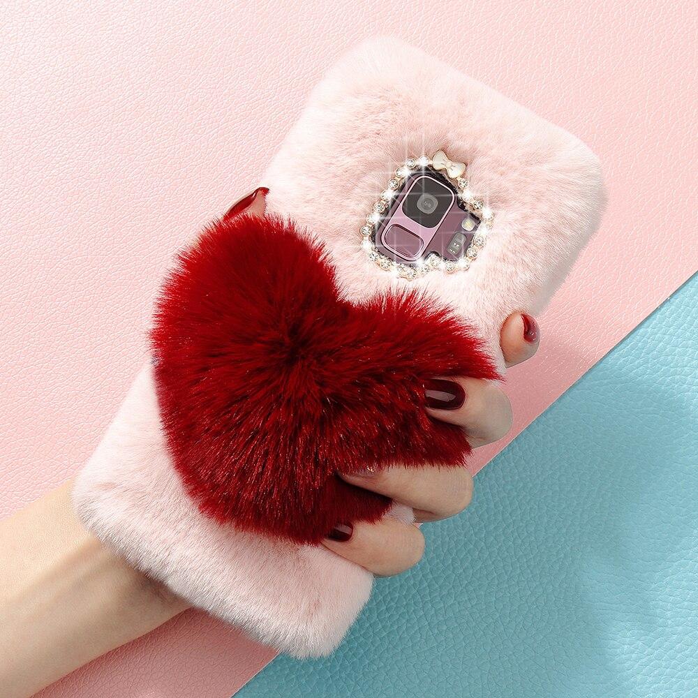 Cute Plush Fur Fluffy Phone Case For Samsung Galaxy S10 S9 Plus S8 Note9 S10e S7 Edge A8 2018 J3 2017 EU Silicone Cover