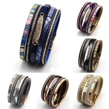 Fashion Multilayer Woven Bracelets vintage Leather  Women Bracelet personality Accessories Female 7 Colors 1PC
