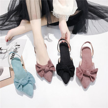 Liren 2019 Summer Sweet Lady Flat Heels Bow Decoration Sandals Pointed Wrapped Toe Light Style Comfortable Casual Women Shoes